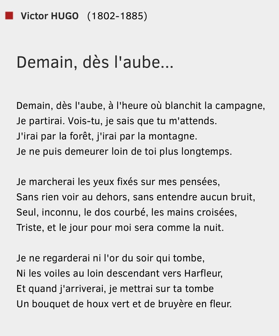 Demain Dès Laube Victor Hugo Victor Hugo Poeme Chanson