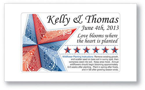 Country Star Wedding or Bridal Shower Seed Packets Favors - Red White and Blue