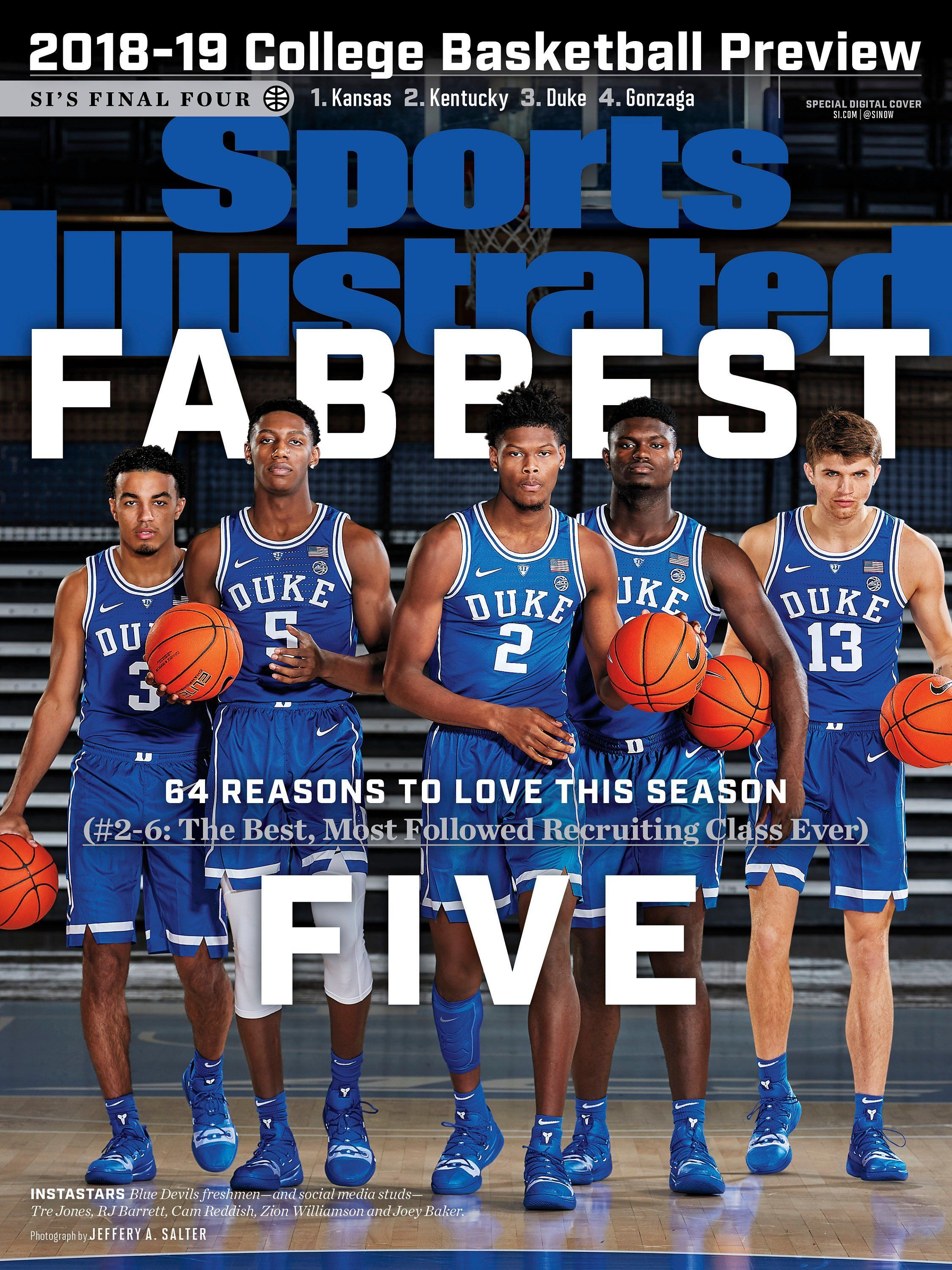 "Duke on Huge 13""x17"" Sports Illustrated 201819 Basketball"