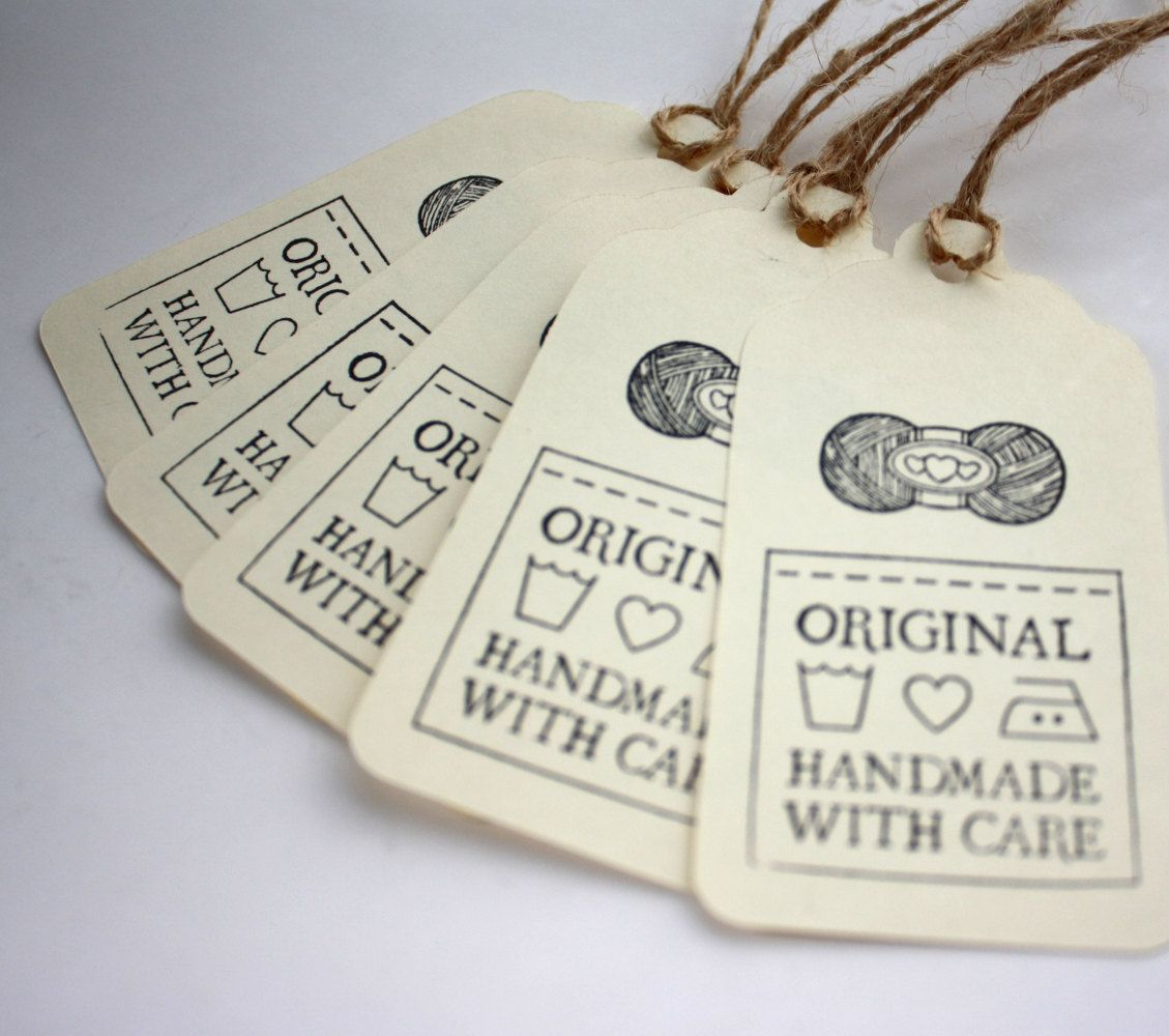 Knitting Labels Handmade : Gift tags original handmade with care set of for knit