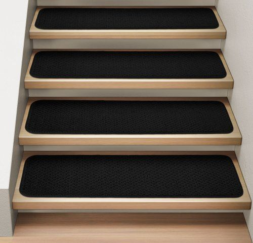 Best Set Of 15 Attachable Indoor Carpet Stair Treads Black 9 In 400 x 300