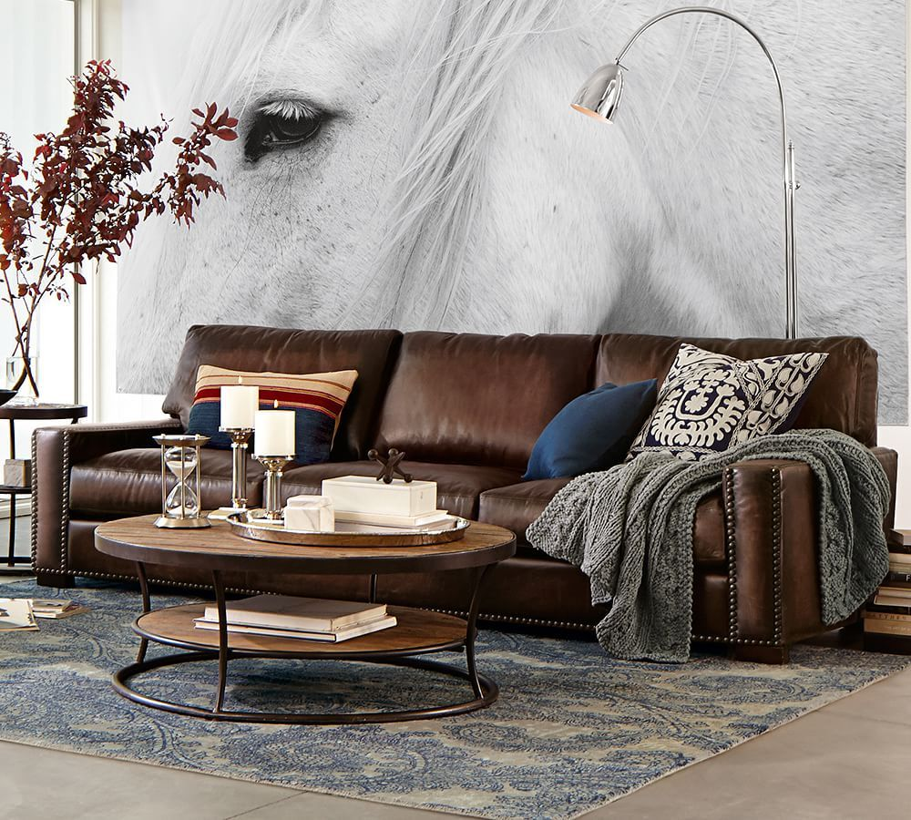Turner Square Arm Leather Sofa 85 5 With Bronze Nailheads Down