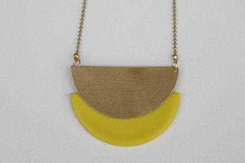 MÅNE halskæde (gul)
