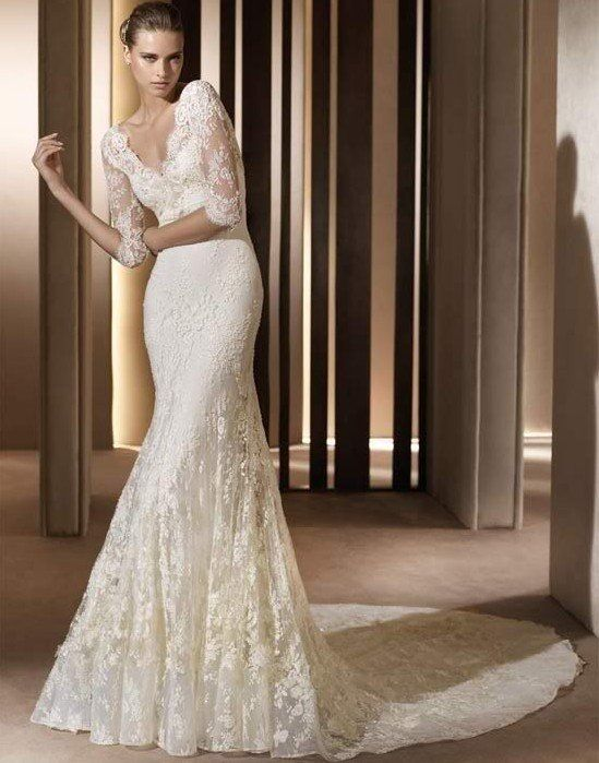Vintage Wedding Dresses Long Sleeves Classic Lace