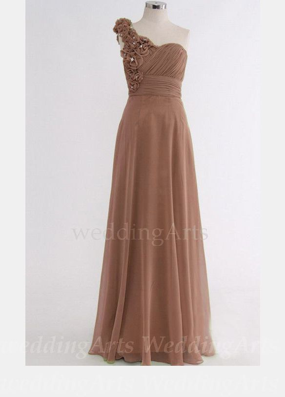 Light Brown Bridesmaid Dress With Roses One By Weddingarts On Etsy 99 00 Brown Wedding Dress Brown Bridesmaid Dresses Bridesmaid Dresses