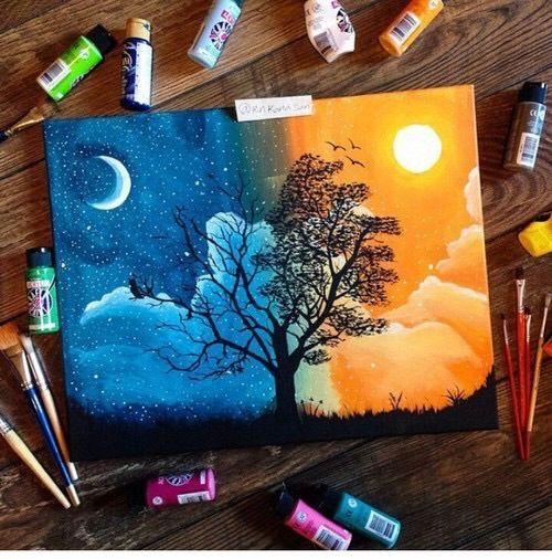 imagen va a we heart it art day night oils painting