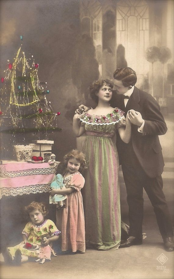 christmas family beautiful belle epoque french fancy group portrait children dolls romantic parents original 1910s postcard used 1913