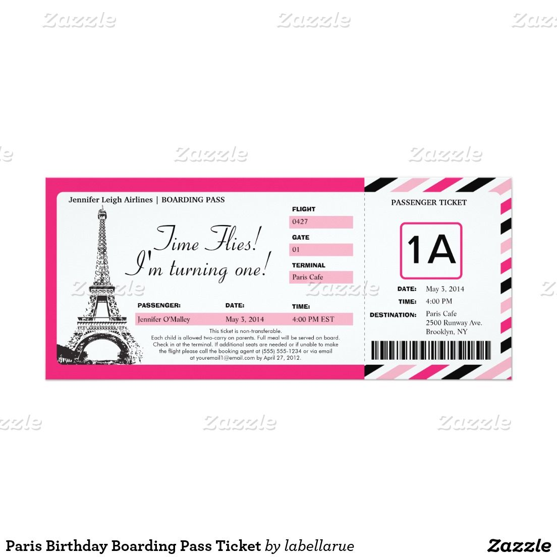 Paris Birthday Boarding Pass Ticket 4x9 25 Paper Invitation Card