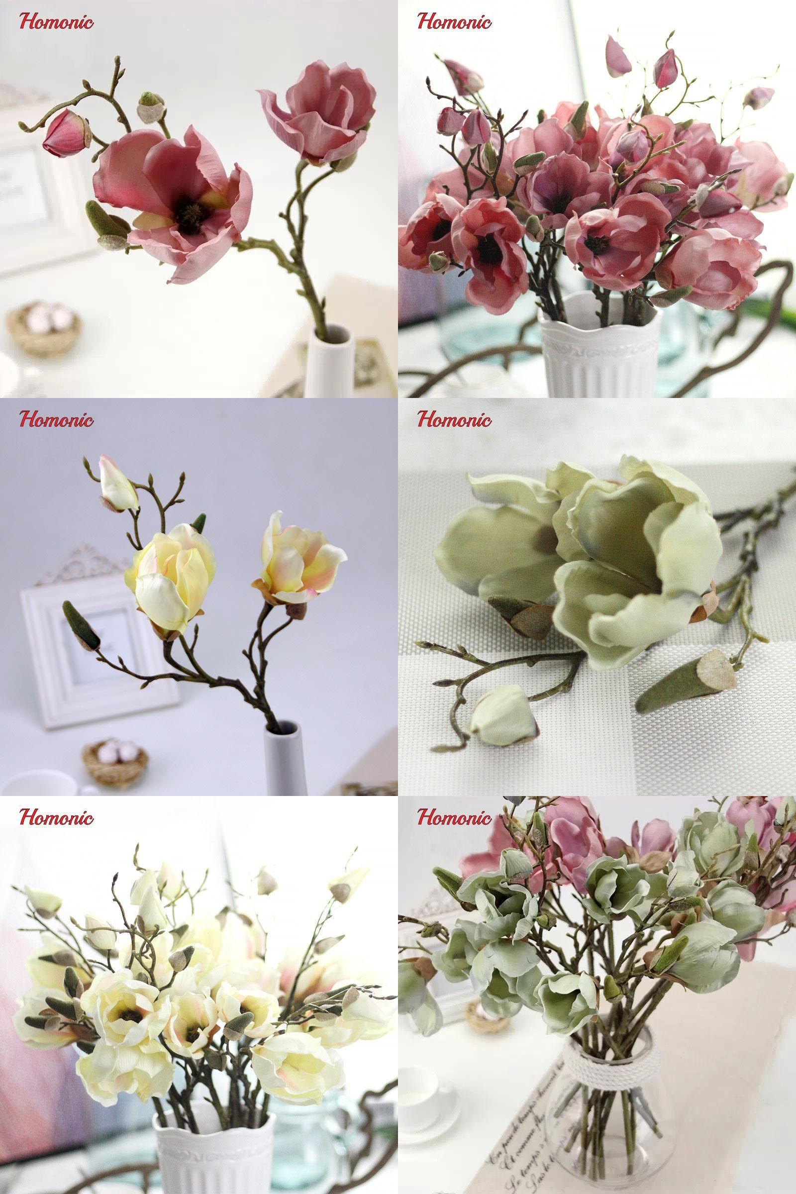 Visit to Buy Artificial silk magnolia flowers Fake Leaf Retro