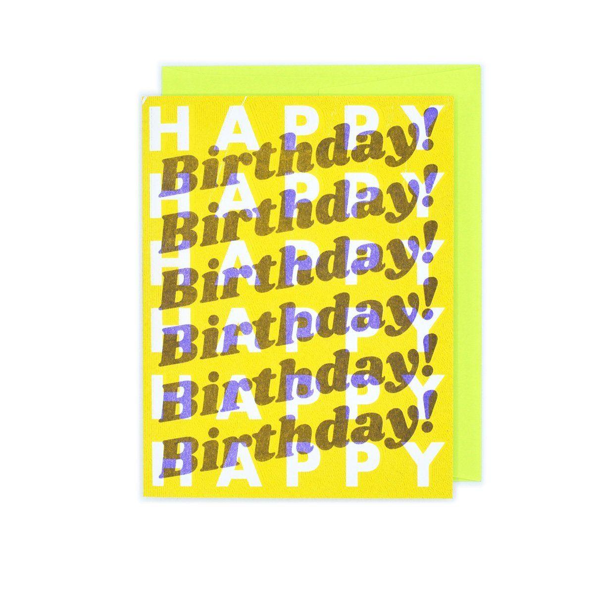 Retro Repeats Risograph Birthday Card In 2021 Birthday Cards Happy Birthday Cards Happy Birthday Cards Handmade