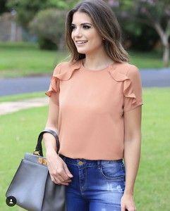 06c98025c BLUSA CREPE BABADOS | blouses | Blouse designs, Fashion outfits e ...