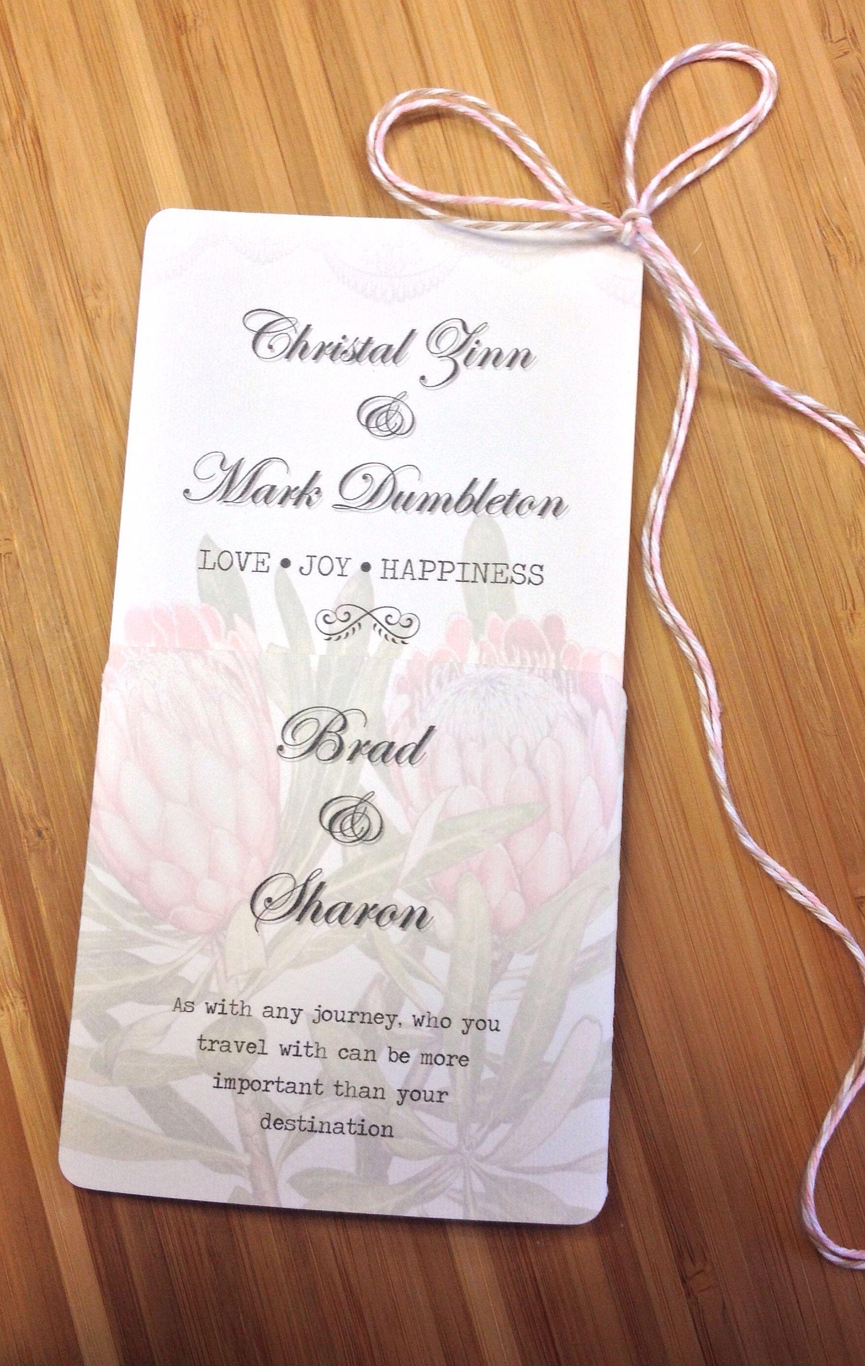 Protea Inspired Wedding Invitation Wedding Stationery