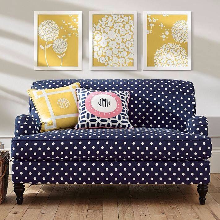 Great Navy Polka Dot Sofa White Yellow Pictures