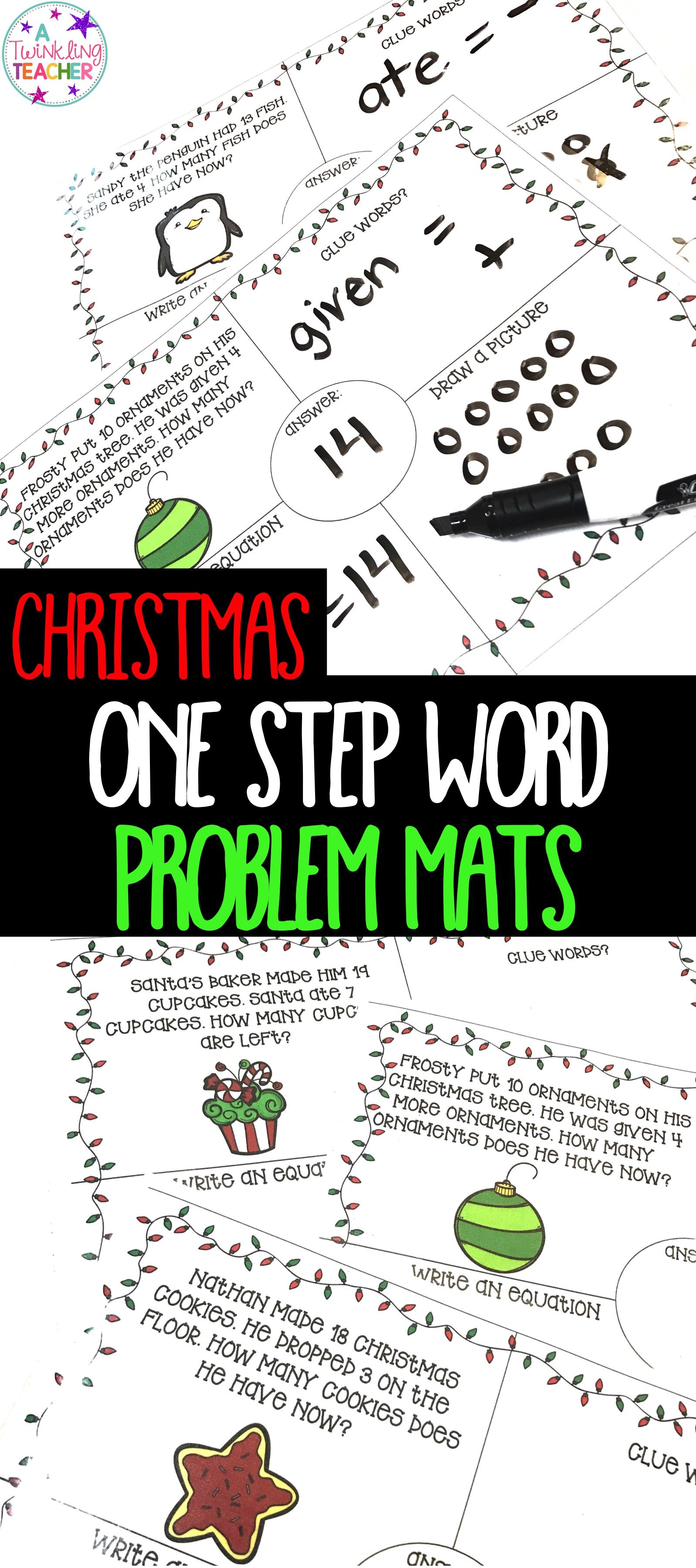 Christmas One Step Word Problems Within 20