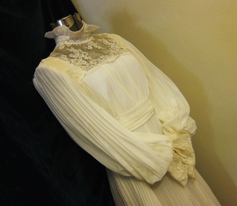 wedding dress 1970s Edwardian style accordion pleats. $98.00, via Etsy.