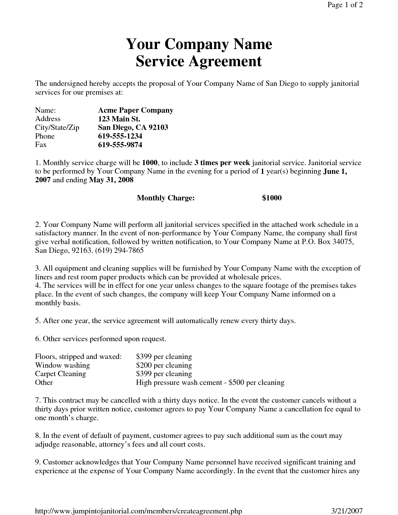 Janitorial Service Agreement By Hgh Sample