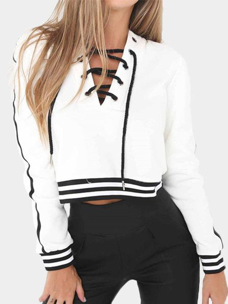 7f4d637c6c White Stripe V-neck Lace-up Front Crop sweatshirts from mobile - US 19.95  -YOINS