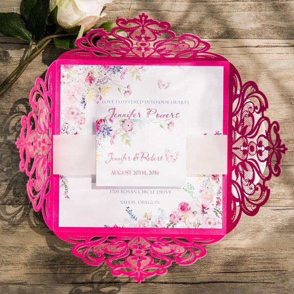 Silver And Hot Pink Wedding Invitations Cerca Con Google