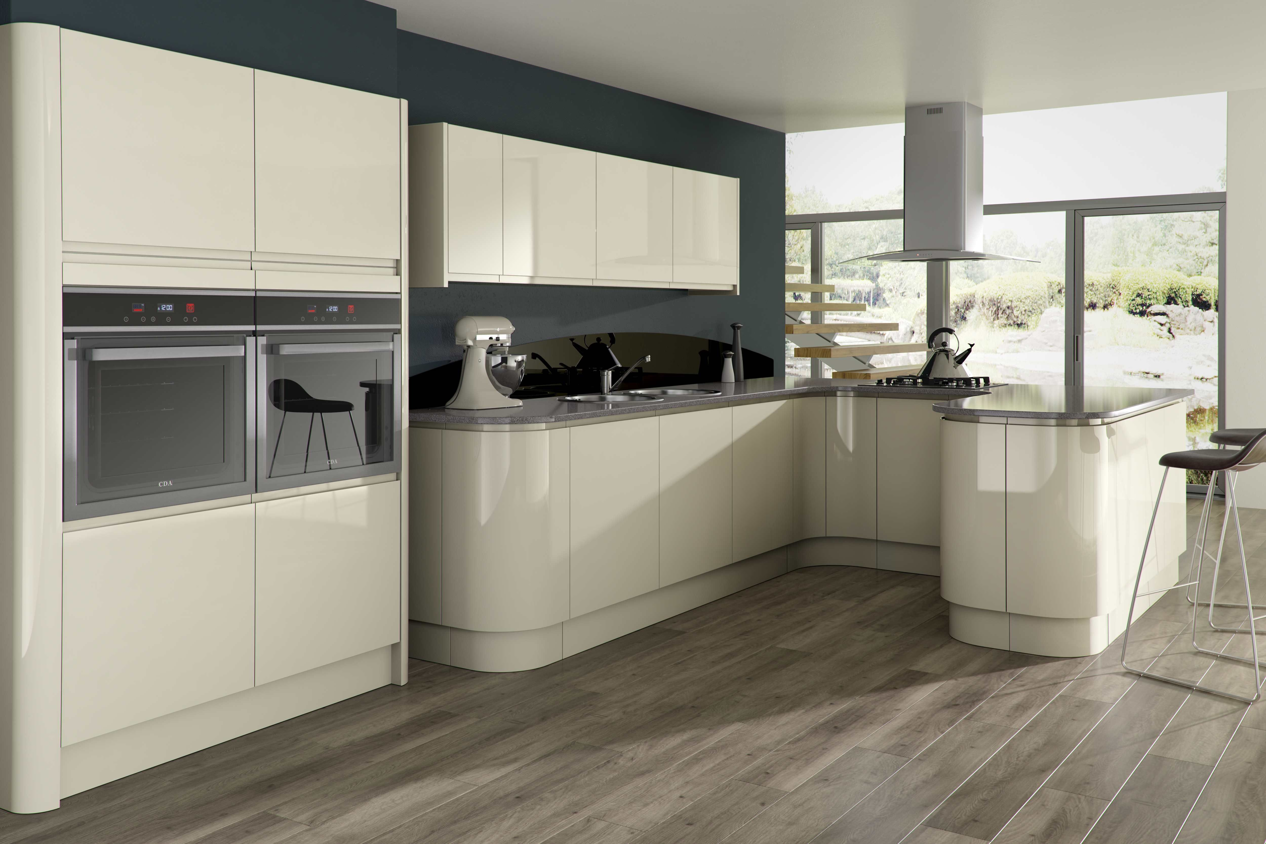 Opal gloss stone kitchen units for modern kitchen with the for Small kitchen unit ideas