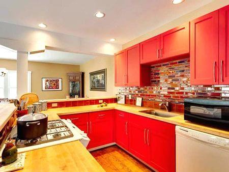 fascinating kitchen cabinet backsplash red | multi colored tile backsplash kitchen remodel with red ...