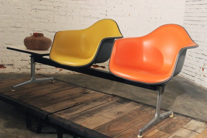 Vintage Mcm Eames Ets Shell Tandem Seating Airport Bench By Herman Miller Seating Eames Furniture