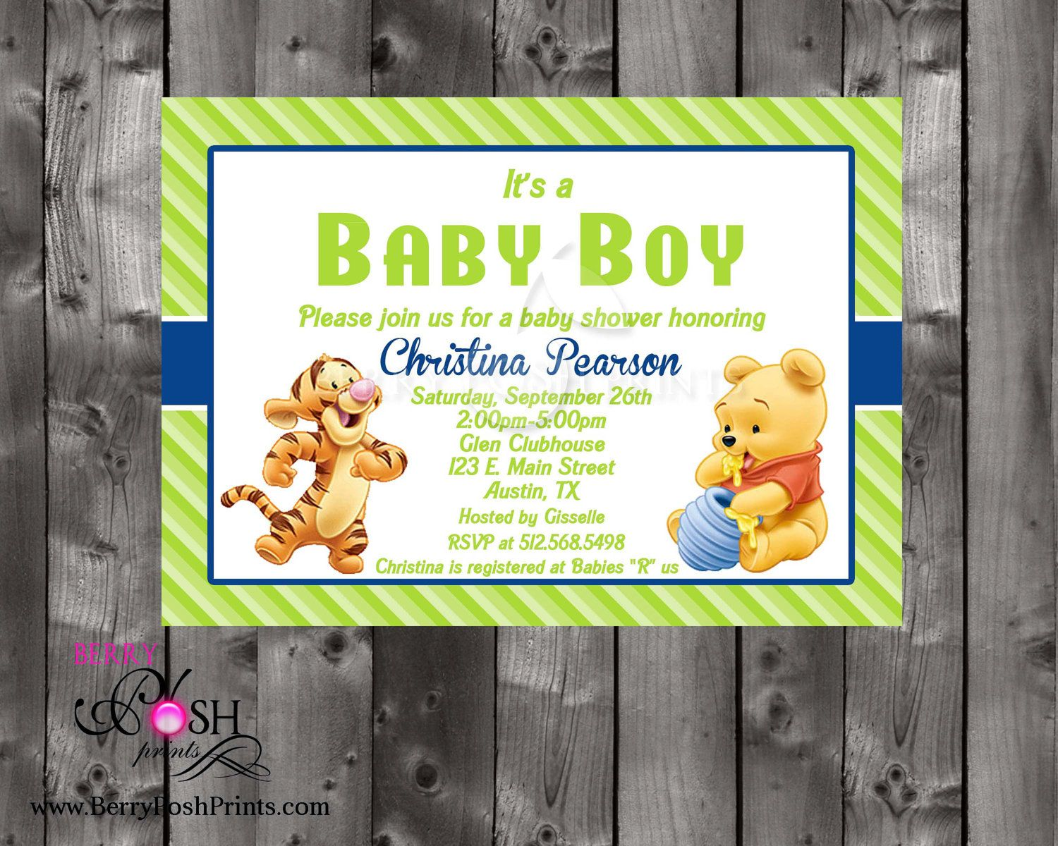 Winnie the Pooh Baby Shower Invitation by BerryPoshPrints on Etsy ...