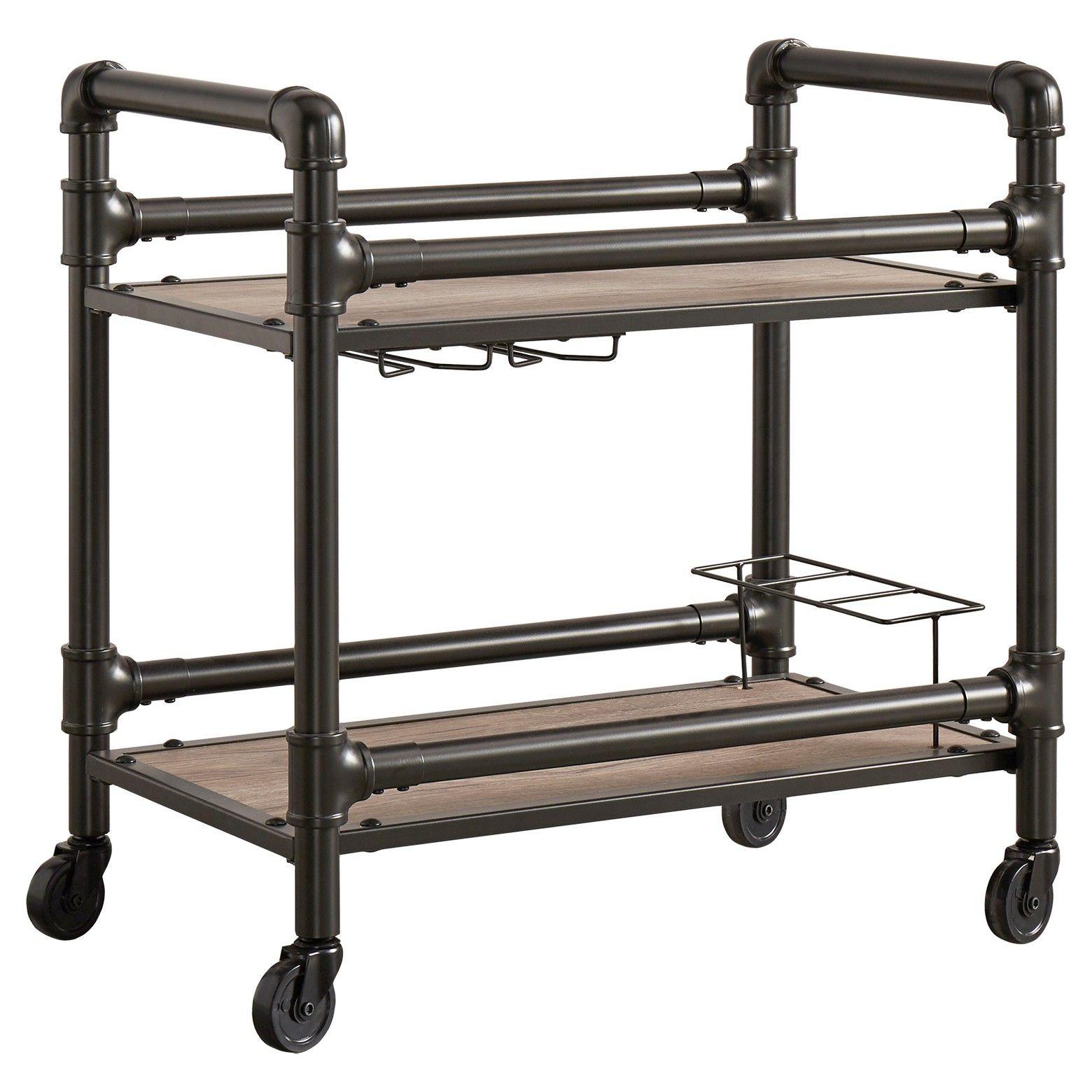 Emery Industrial Metal + Wood Bar Cart - Brown - Inspire Q