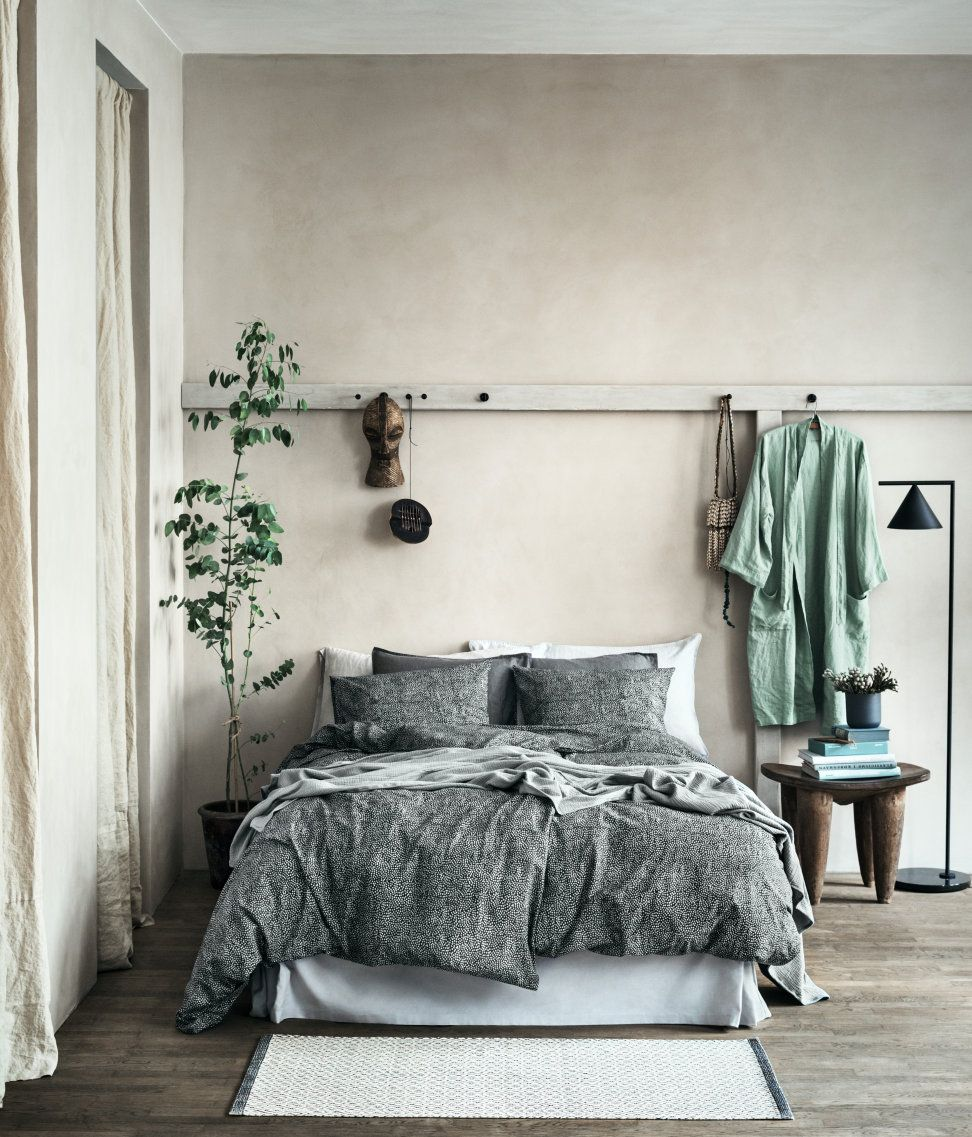 Calming sage green and stone grey bedroom from H\u0026M Home. Unusual ...