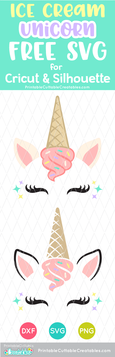 Ice Cream Unicorn Face FREE SVG File & Clipart for Cricut