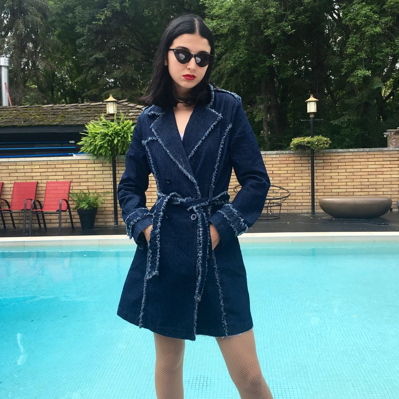 9dc290c7a410 The Totally Spies Trench Coat ❣ Deep blue denim, with frayed trim. Size: