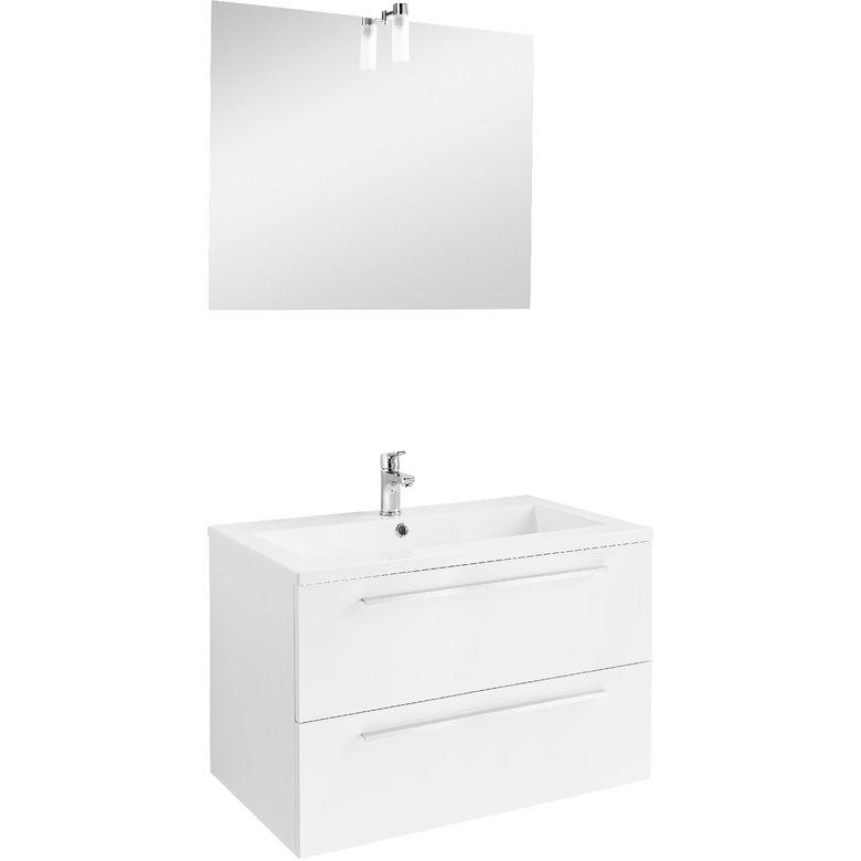 Ensemble meuble de salle de bains plan résine avec robinetterie L80 - conforama meuble bas cuisine
