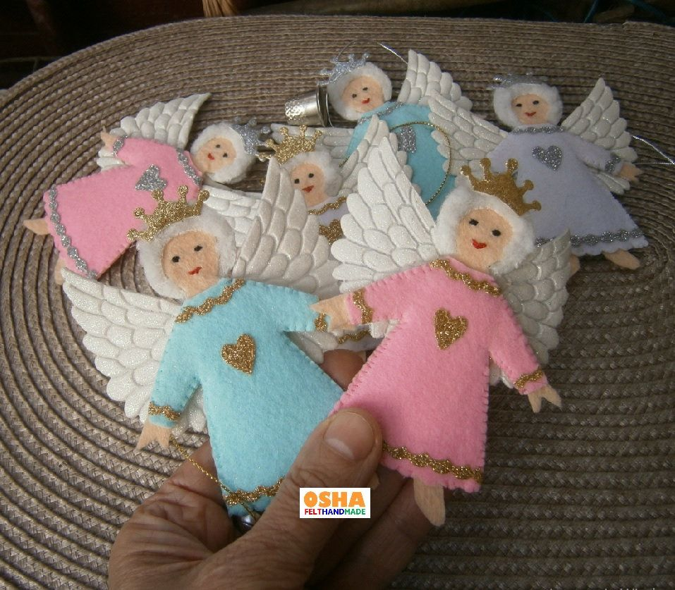 Angel Felt Ornament Single Sets Pink Aqua White Felt Etsy Felt Christmas Tree Decorations Felt Christmas Tree Felt Ornaments