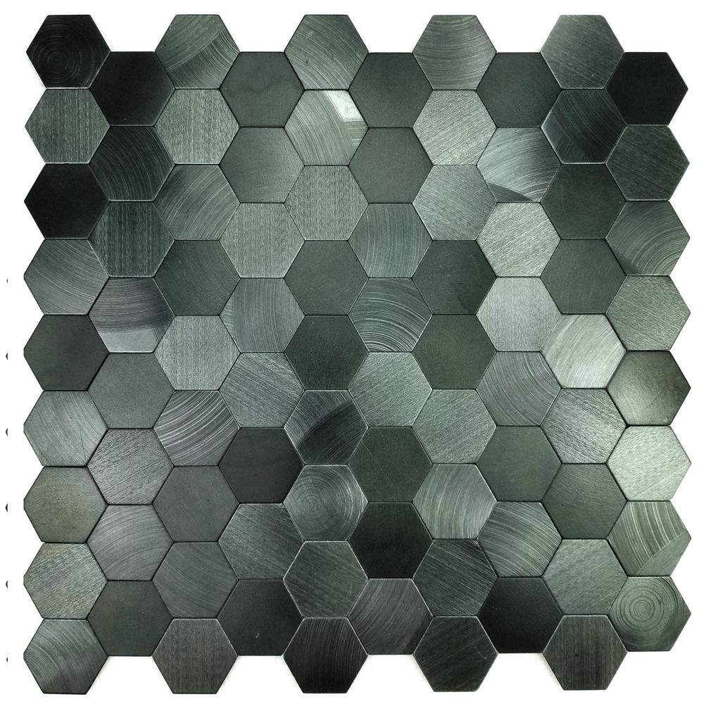 Abolos Enchanted Metals Space Blue Hexagon Mosaic 12 In X 12 In Brushed Peel Stick Wall Tile 0 9 Sq Ft Hmdehmhex Sb In 2020 Metallic Wall Tiles Hexagon Mosaic Tile Tiles