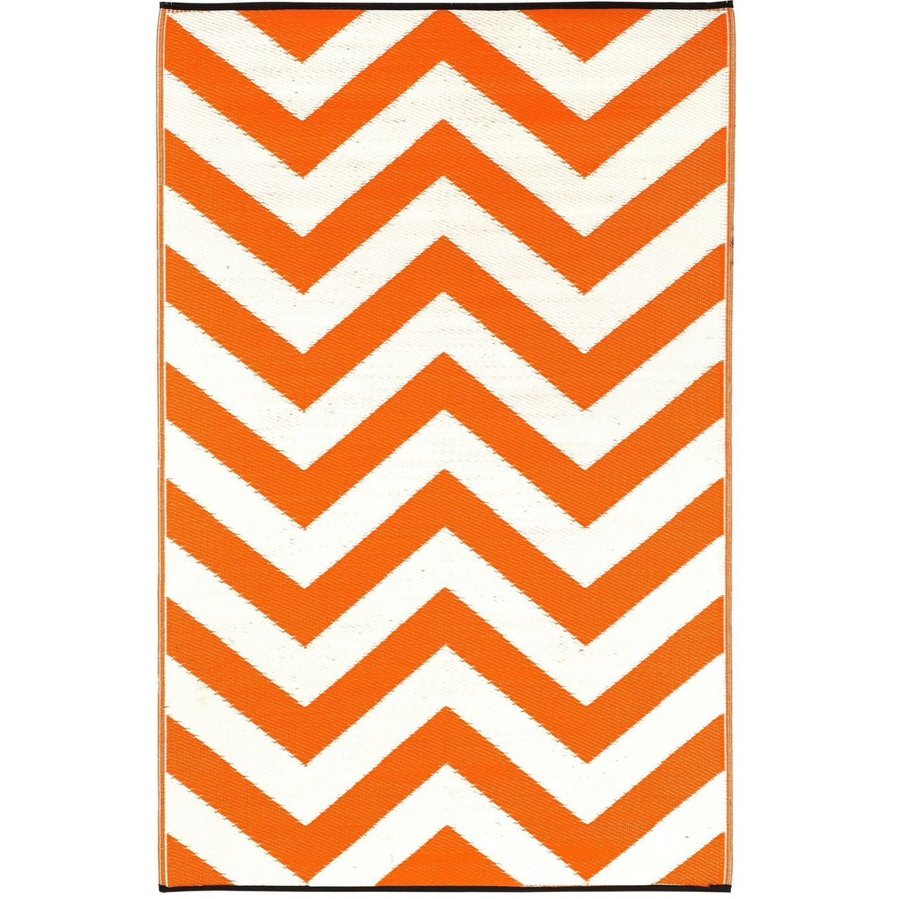 5' x 8' Indoor / Outdoor Area Rug with Orange White Chevron Pattern - Quality House