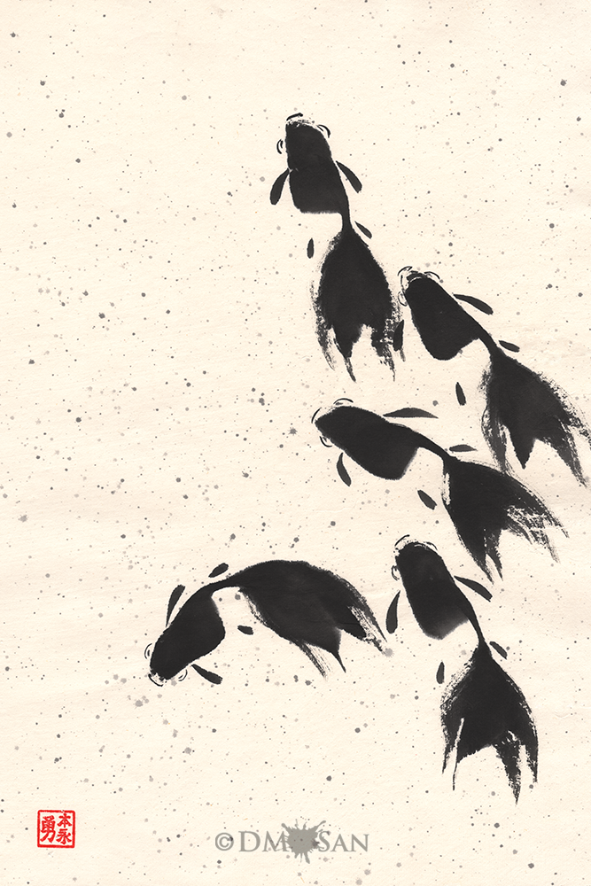 """Break free from the pack! Go find your own path. Limited print run of 50 using archival quality materials. Each will be signed and numbered on the front. Reproduction print of an original sumi-e painting on rice paper. Image size: 12"""" x 18"""" Paper size: 13"""" x 19"""" Prin..."""