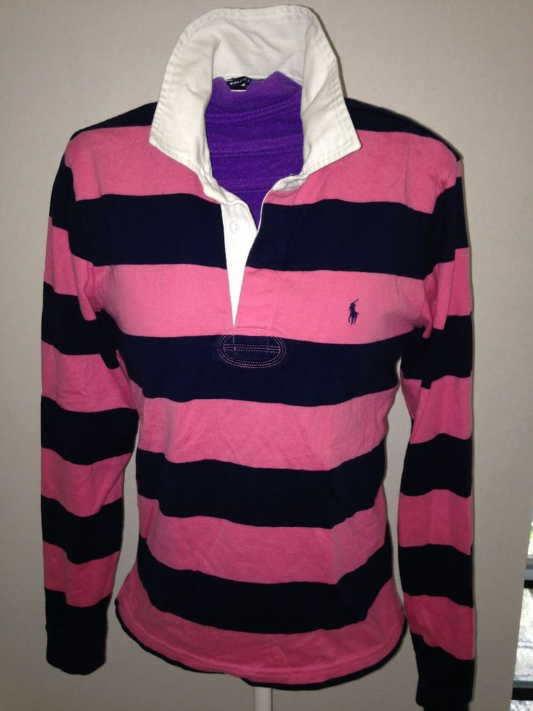 Polo ralph lauren womens striped rugby shirt size medium m for Pink and purple striped rugby shirt