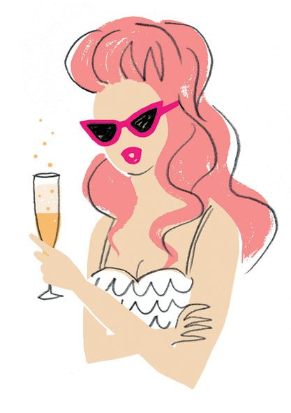 Peach Bellini by Neryl Walker. Illustration from The Fashionable cocktail book.