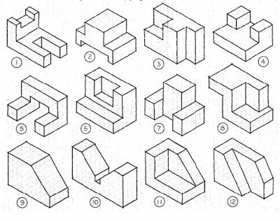 2011 Class 1 08 Admt Blog Week 3 Sketchworks 4 Isometric Drawing Exercises Isometric Drawing Geometric Drawing