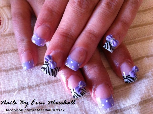 Acrylic Nail Art Purple And Zebra With 3d Bows Nails Pinterest