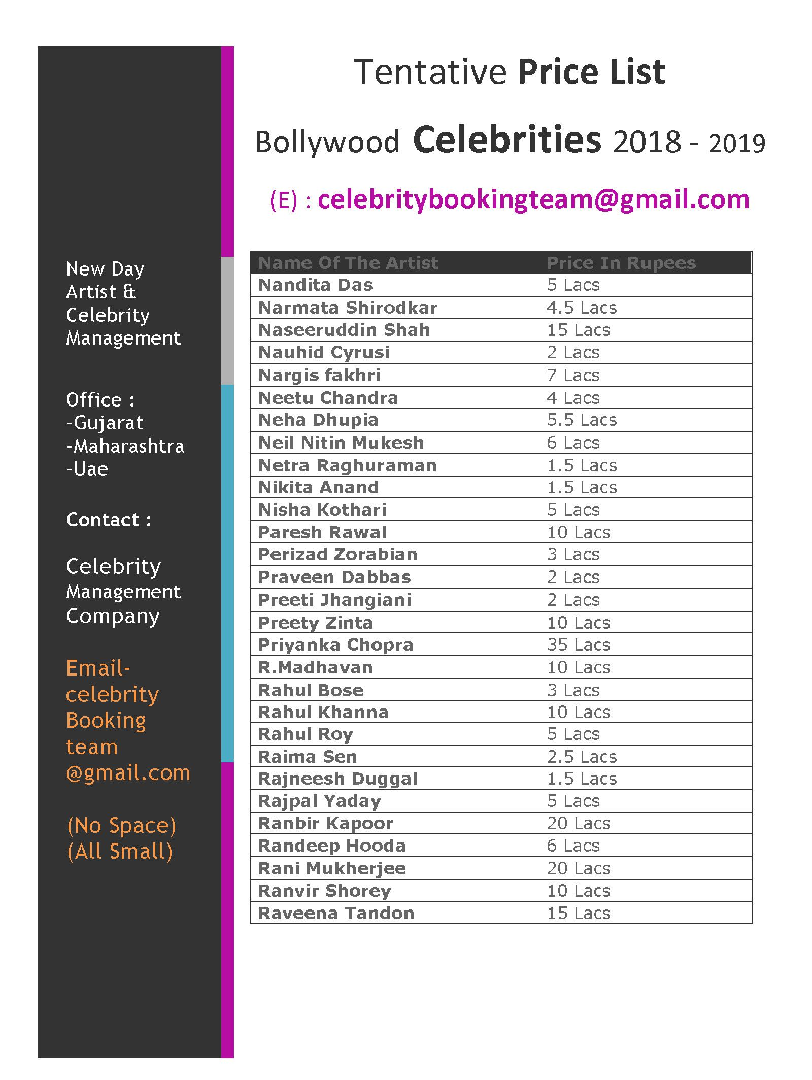 for your event, bollywood celebrity booking, contract, email