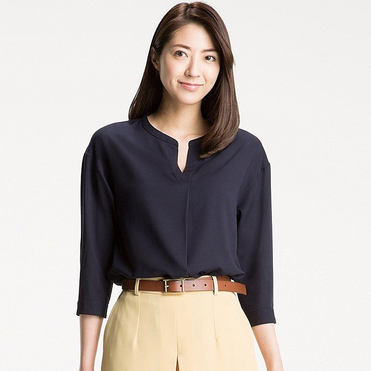 21280ec496c01c Women rayon skipper collar 3/4 sleeve blouse | professional | Blouse ...