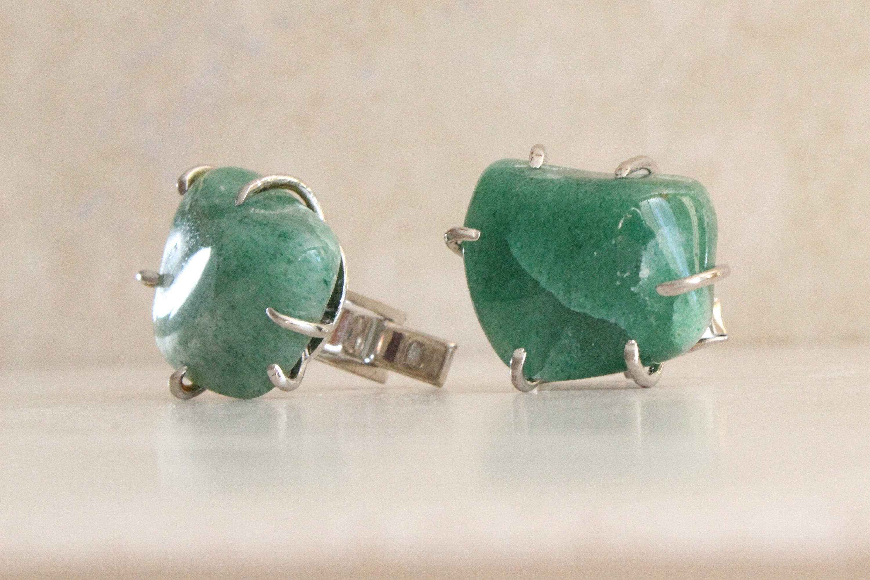 Green Aventurine Cufflinks Sterling Silver Tumbled Stone Large Vintage
