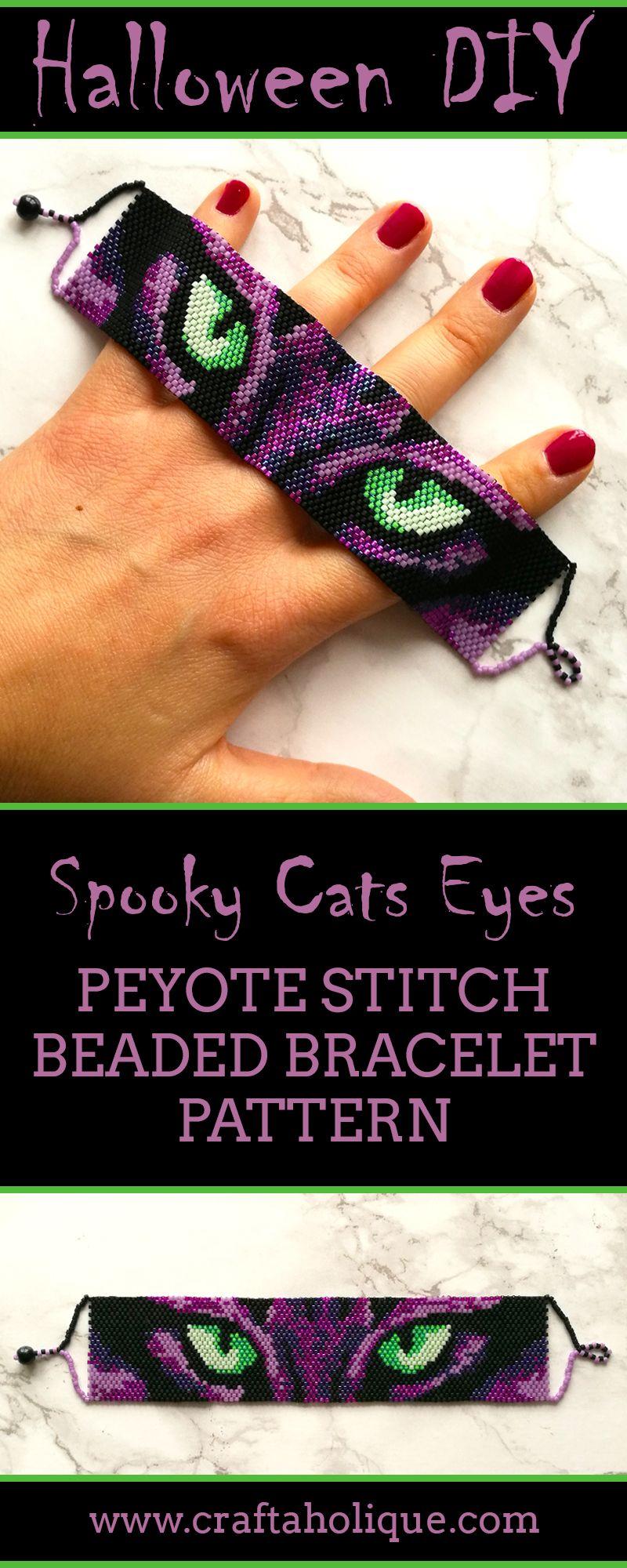 Halloween Peyote Stitch Pattern - Spooky Cats Eyes #halloween