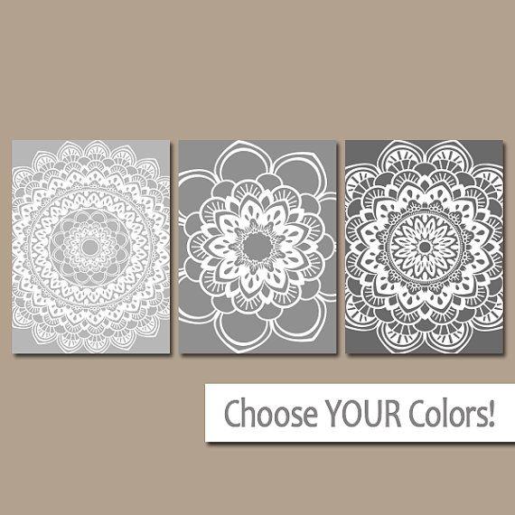 Mandala Wall Art Gray Bathroom Pictures Canvas Or Print Medallion Wall Art Mandala Wall Art Grey Wall Art