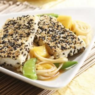Sesame-Crusted Tofu with Spicy Pineapple Noodles /skip cornstarch and salt; use water instead of oil/