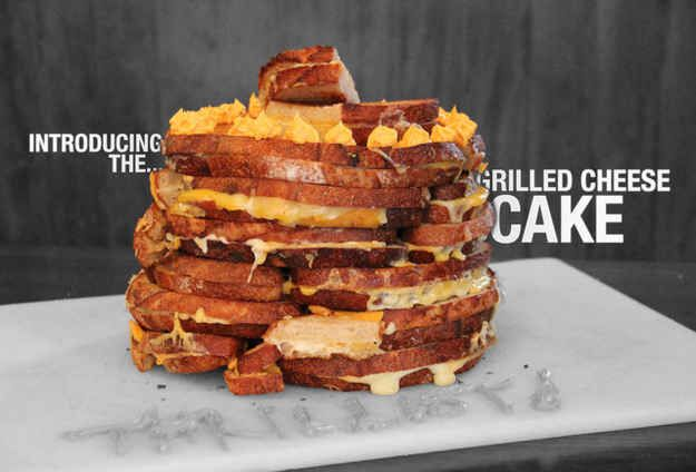 """""""Cake Made Out Of 30 Grilled Cheese Sandwiches"""" Stack 