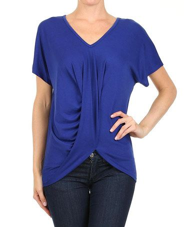 Love this Blue Ruched V-Neck Top by One Fashion on #zulily! #zulilyfinds