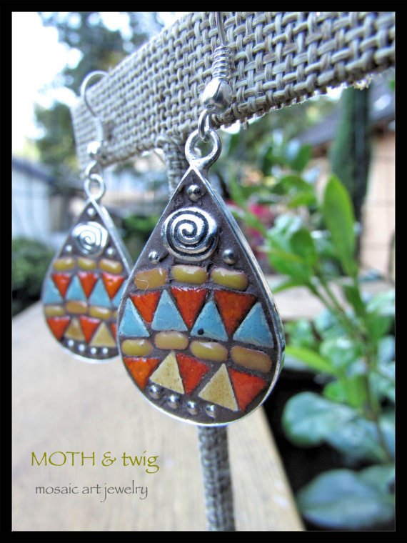 Ceramic tile drop earrings