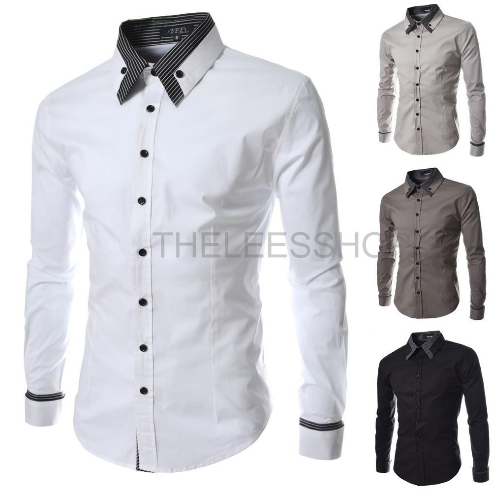 Mens 100% Cotton Dressy Long Sleeve Shirts Slim Fitted Button-down ...