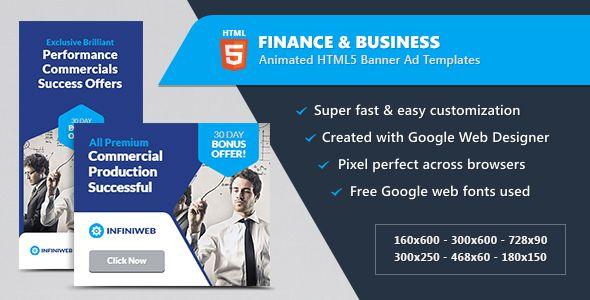 Finance  Business Banner Ads - HTML5 Animated GWD Pinterest - business finance spreadsheet template